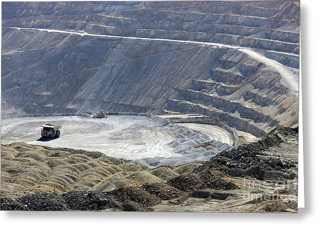 Mine Pit Greeting Cards - Santa Rita Copper Mine Greeting Card by Inga Spence