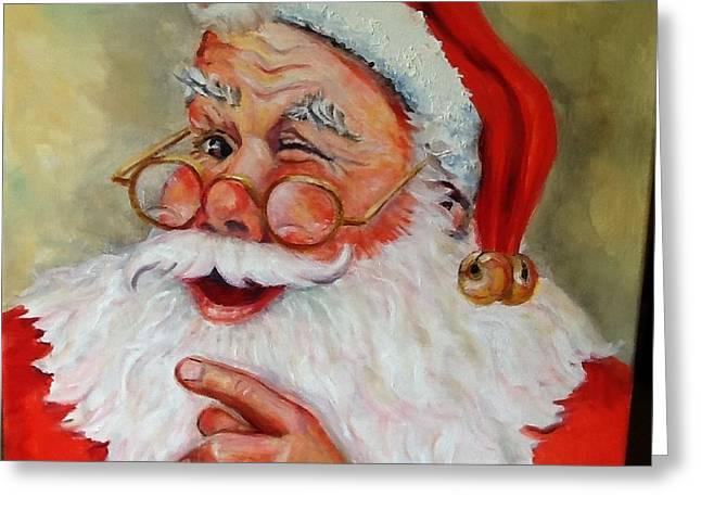 Santa Winking II Greeting Card by Sheila Kinsey