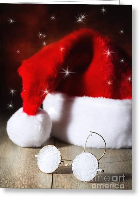 Santa Hat Greeting Cards - Santas Glasses Greeting Card by Amanda And Christopher Elwell