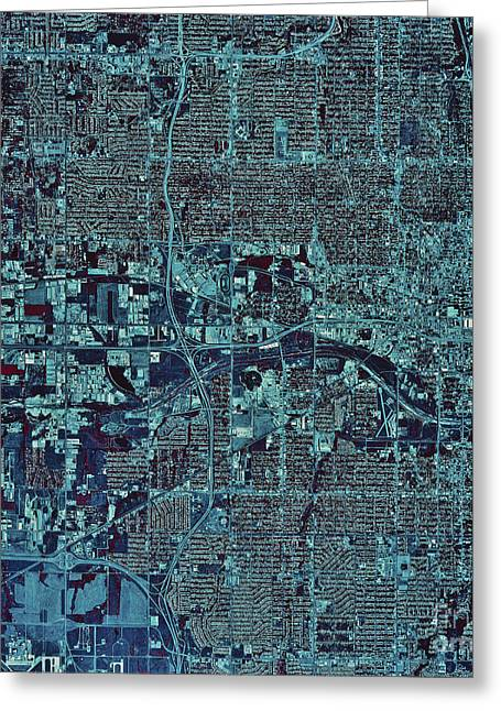 Satellite View Of Oklahoma City Greeting Card by Stocktrek Images