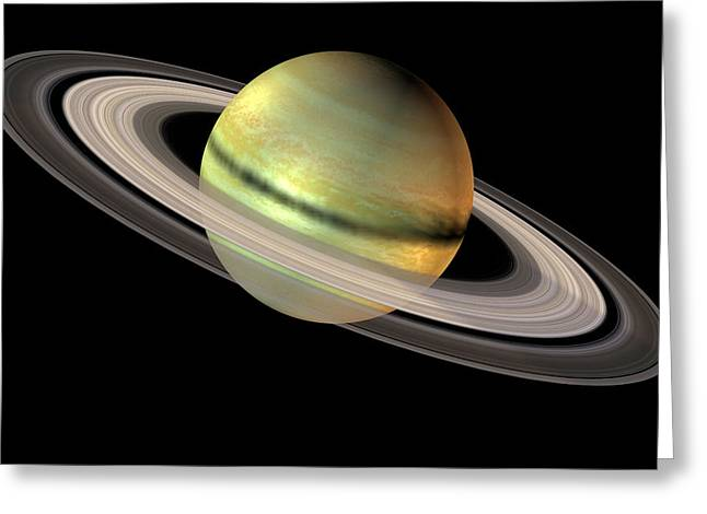 Saturn And Its Rings Greeting Card by Friedrich Saurer
