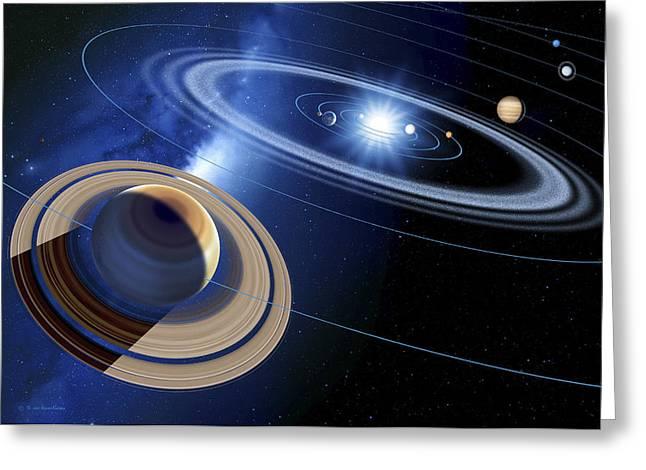 Inner Space Greeting Cards - Saturn And Solar System Greeting Card by Detlev Van Ravenswaay