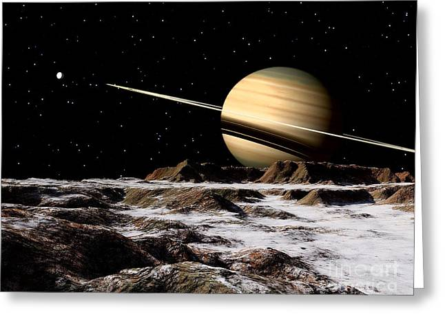 Ring Systems Greeting Cards - Saturn Seen From The Surface Greeting Card by Ron Miller