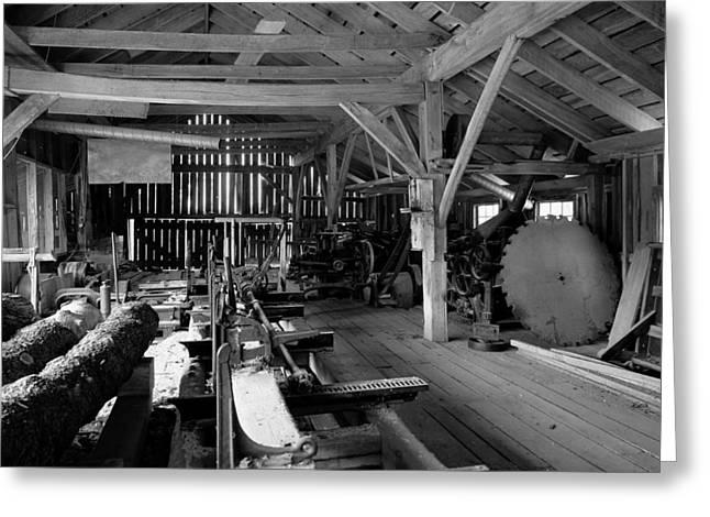 Saw Blade Greeting Cards - Sawmill Interior Greeting Card by Mountain Dreams