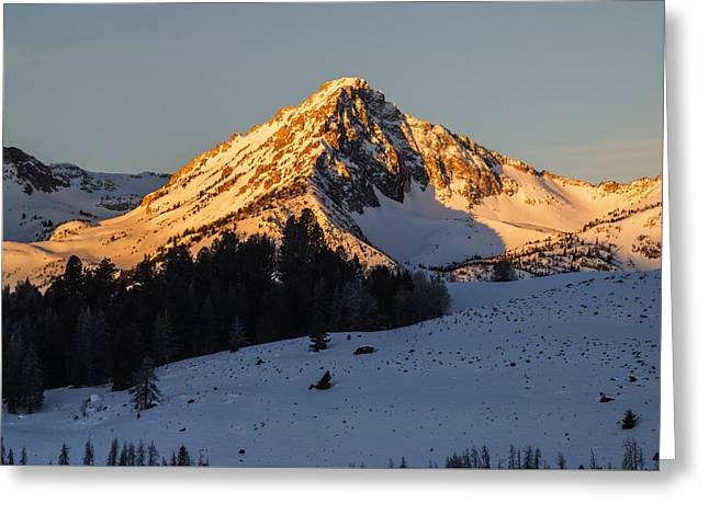 Snow-covered Landscape Greeting Cards - Sawtooth winter sunrise in Stanley Idaho Greeting Card by Vishwanath Bhat