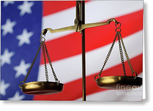 Equality Greeting Cards - Scales of Justice and American flag Greeting Card by Sami Sarkis