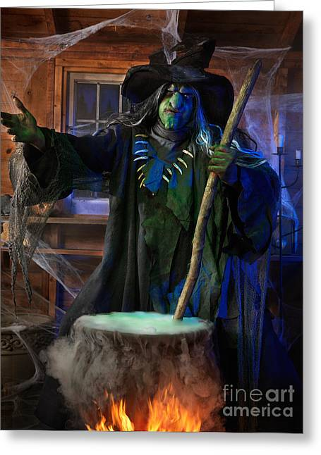 Frightful Greeting Cards - Scary Old Witch with a Cauldron Greeting Card by Oleksiy Maksymenko