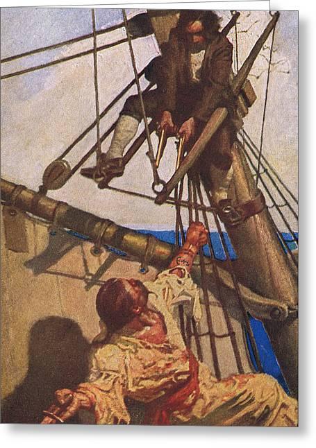 Scene From Treasure Island Greeting Card by Newell Convers Wyeth