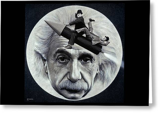 Man In The Moon Paintings Greeting Cards - Scientific Comedy Greeting Card by Ross Edwards