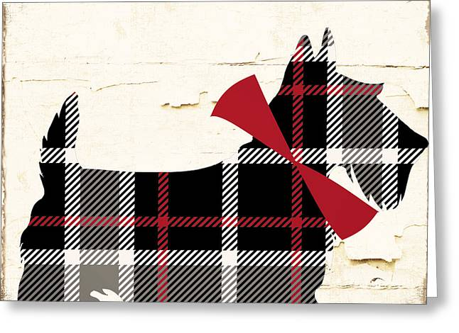 Scottish Terrier Tartan Plaid Greeting Card by Mindy Sommers