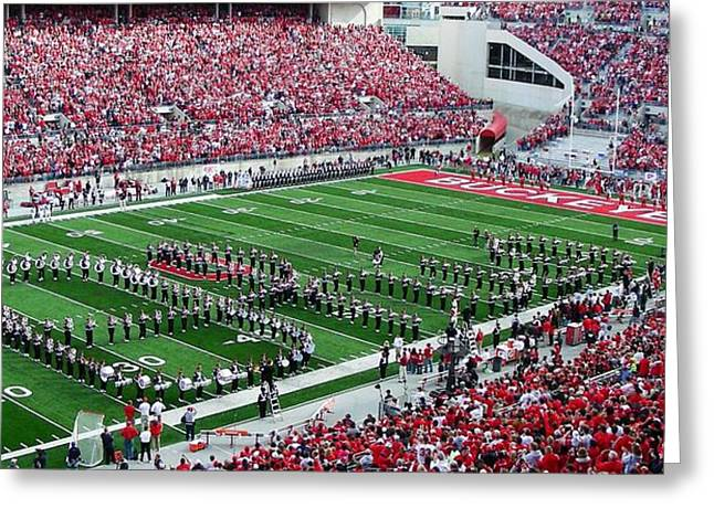 Football Photographs Greeting Cards - Script Ohio Greeting Card by Peter  McIntosh