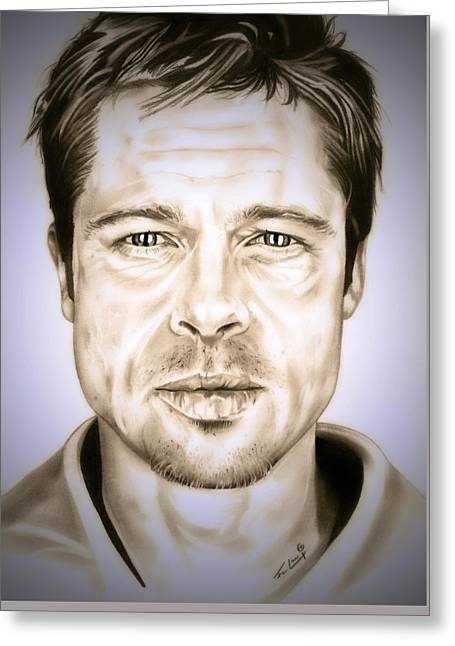 The Trees Drawings Greeting Cards - Se7en Brad Pitt Greeting Card by Fred Larucci