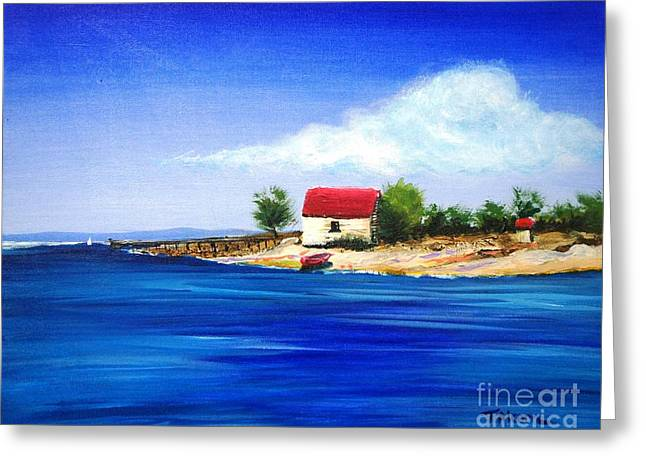 Sheds Greeting Cards - Sea Hill Boatshed - original sold Greeting Card by Therese Alcorn