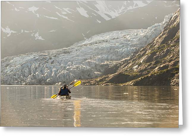 Cooperation Greeting Cards - Sea Kayakers Paddling In Evening Light Greeting Card by Kevin Smith