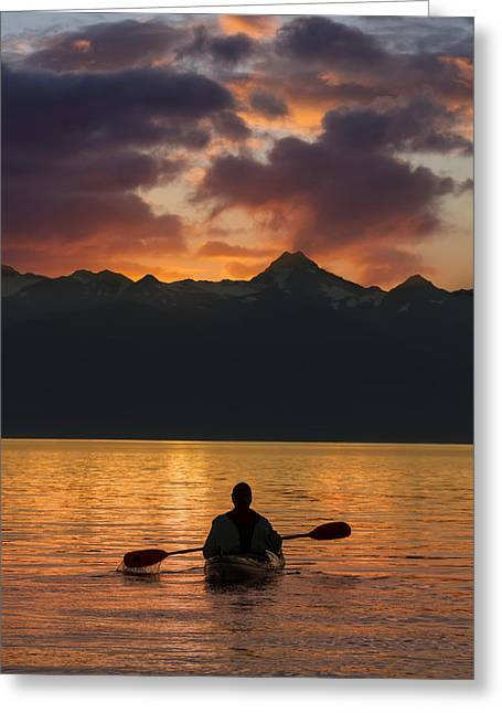 On The Beach Greeting Cards - Sea Kayaking On A Sublime Evening Greeting Card by John Hyde