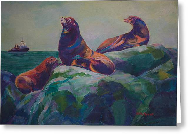 California Sea Lions Greeting Cards - Sea Lions on the Rocks Greeting Card by Val Philbrook