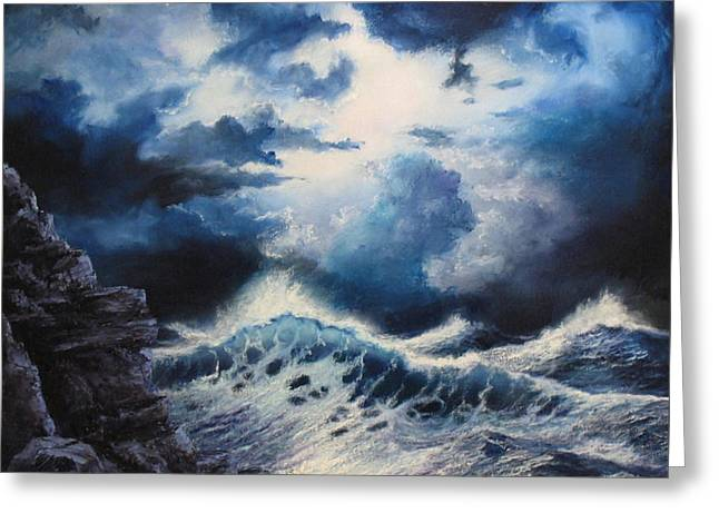 Beach Reliefs Greeting Cards - Sea Storm Greeting Card by John Cocoris