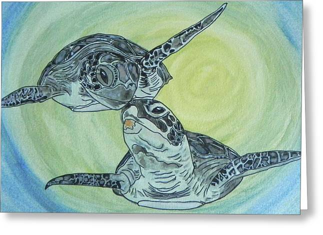 Underwater Photos Paintings Greeting Cards - Sea Turtles... Greeting Card by W Gilroy