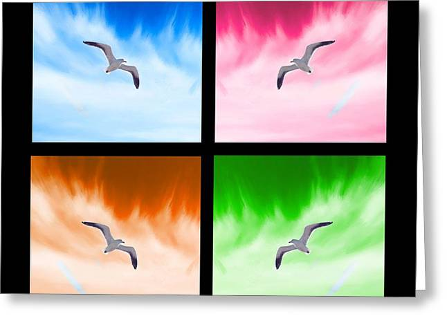 Game Greeting Cards - Seagull Collage Greeting Card by Bruce Nutting