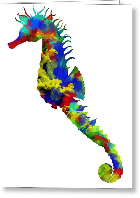 Decorative Fish Greeting Cards - Seahorse Art Greeting Card by Nostalgic Art