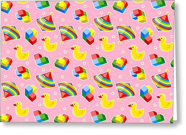 Seamless Baby Toys Background Greeting Card by Natalia Ratselmeister