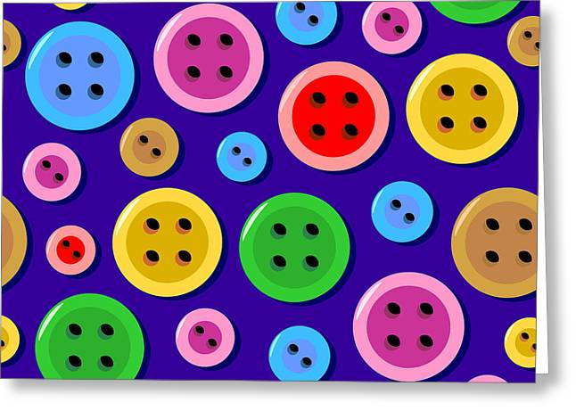 Seamless Pattern With Colorful Sewing Buttons Greeting Card by Natalia Ratselmeister
