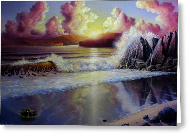 Beaches Reliefs Greeting Cards - Seascape Sunset Greeting Card by John Cocoris
