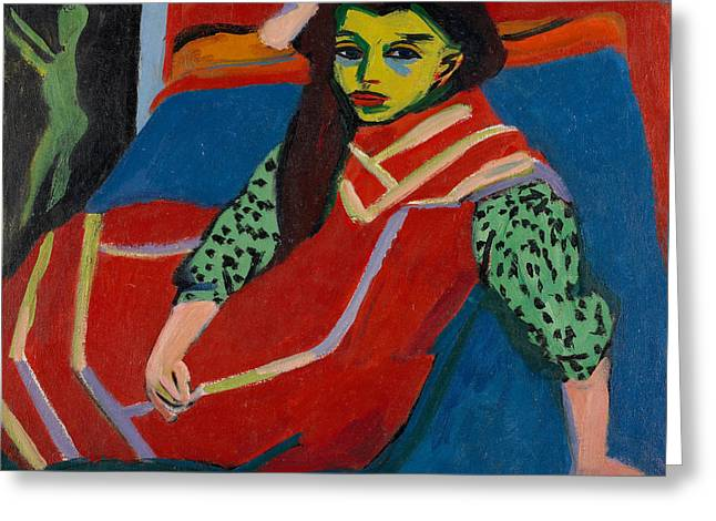 Seated Girl  Greeting Card by Ernst Ludwig Kirchner