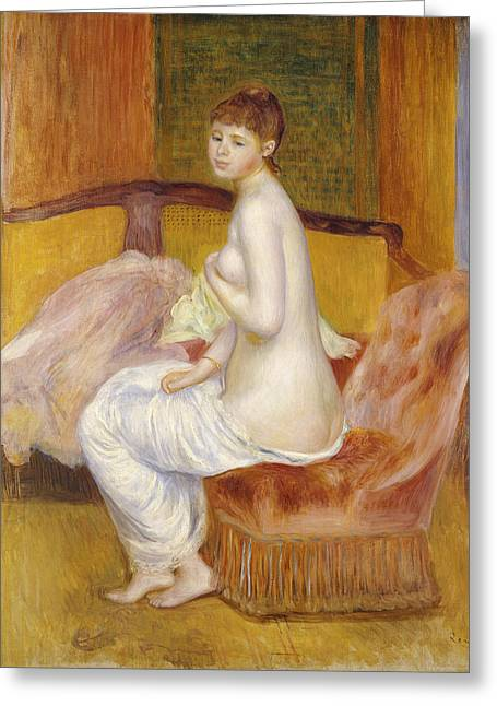 Color Green Greeting Cards - Seated Nude Greeting Card by Pierre Auguste Renoir