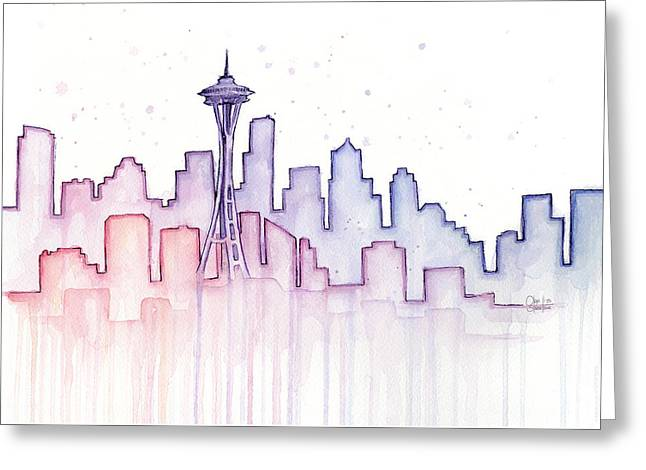 City Buildings Mixed Media Greeting Cards - Seattle Skyline Watercolor Greeting Card by Olga Shvartsur