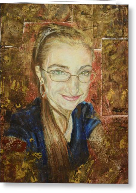 Self Portrait Pastels Greeting Cards - Self-portrait Greeting Card by Agnes V