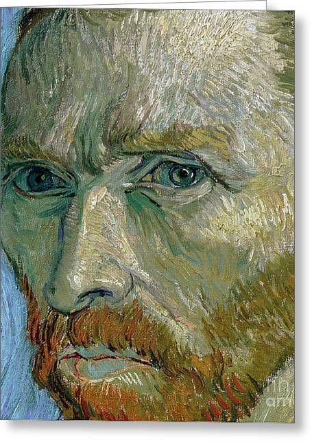 Close Up Paintings Greeting Cards - Self-portrait Greeting Card by Vincent Van Gogh