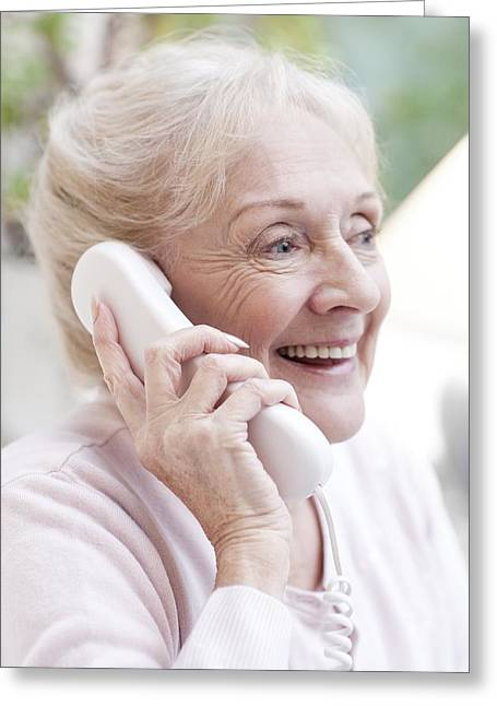Good News Greeting Cards - Senior Woman Talking On The Telephone Greeting Card by
