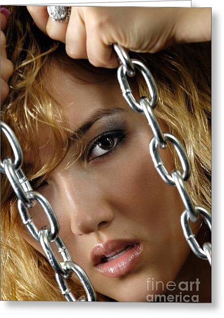 Imprisonment Greeting Cards - Sensual Woman Face Behind Chains Greeting Card by Oleksiy Maksymenko