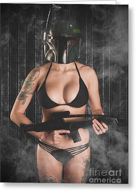 Hot Gun Greeting Cards - Sexy Fett Greeting Card by Jt PhotoDesign
