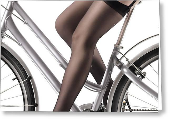 Sexy Woman Riding a Bike Greeting Card by Oleksiy Maksymenko