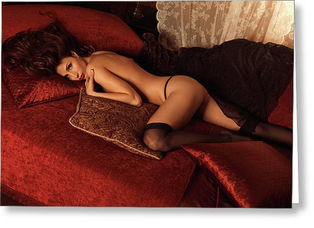Sexy Young Woman Lying on a Bed Greeting Card by Oleksiy Maksymenko