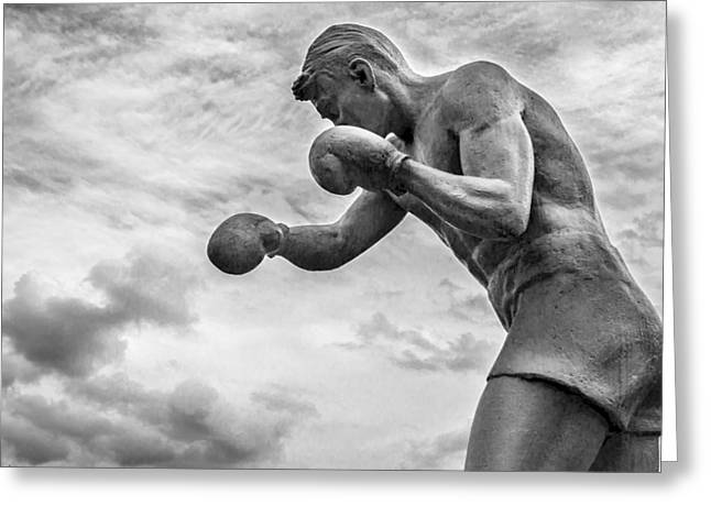 Boxer Abstract Art Greeting Cards - Shadow Boxer Stone Man Statue Greeting Card by John Williams