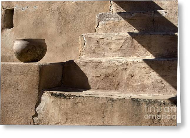 Stone Steps Greeting Cards - Shadows of Tumacacori Greeting Card by Sandra Bronstein