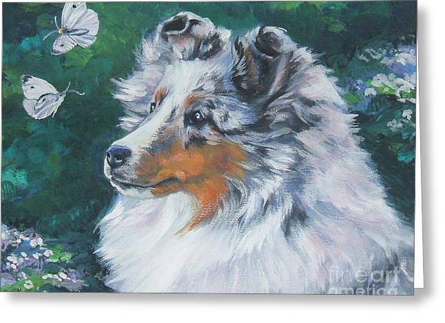 Puppies Paintings Greeting Cards - Shetland Sheepdog Greeting Card by Lee Ann Shepard