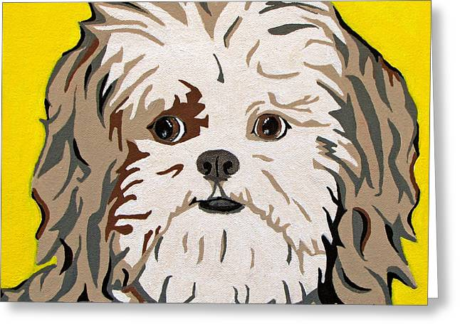 Dog Portraits Greeting Cards - Shih tzu Greeting Card by Slade Roberts