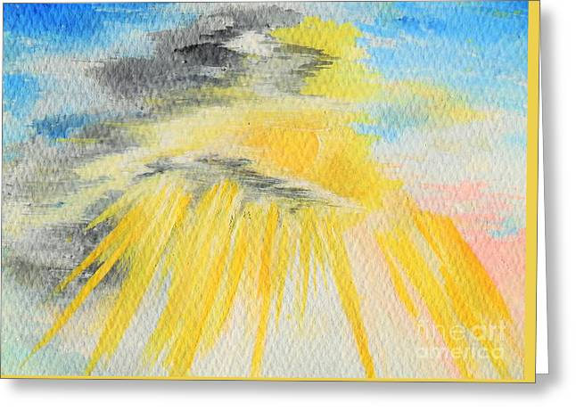 Sun Breakthrough Greeting Cards - Shining through the Heaviness Greeting Card by Louise Drake