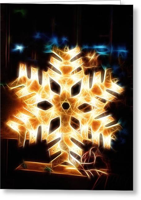 Geometric Design Greeting Cards - Shiny electric christmas snow flake symbol on dark nocturnal ba Greeting Card by Jozef Klopacka