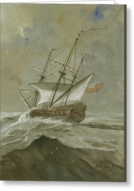 Ship At The Storm Greeting Card by Juan Bosco