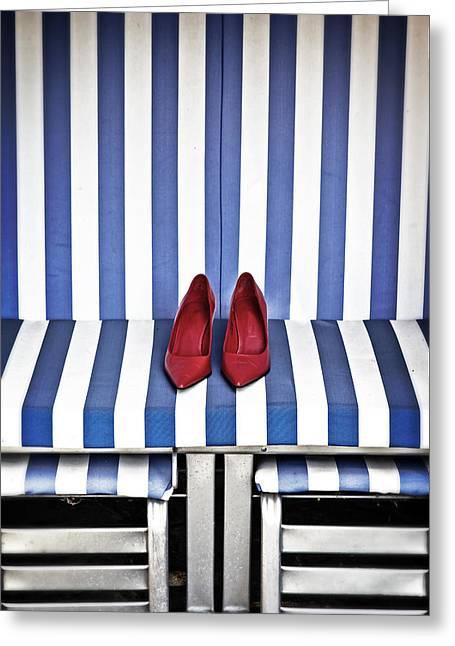 Sexy Shoes Greeting Cards - Shoes In A Beach Chair Greeting Card by Joana Kruse