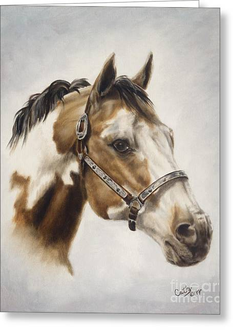 Quarter Horses Paintings Greeting Cards - Show Off Greeting Card by Cathy Cleveland