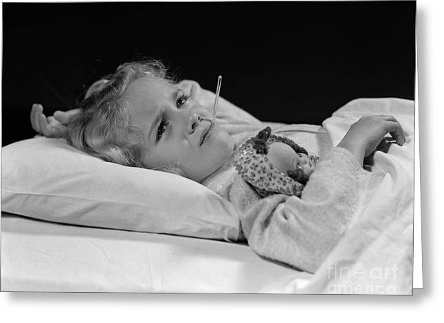 Sick Girl In Bed Greeting Card by H. Armstrong Roberts/ClassicStock