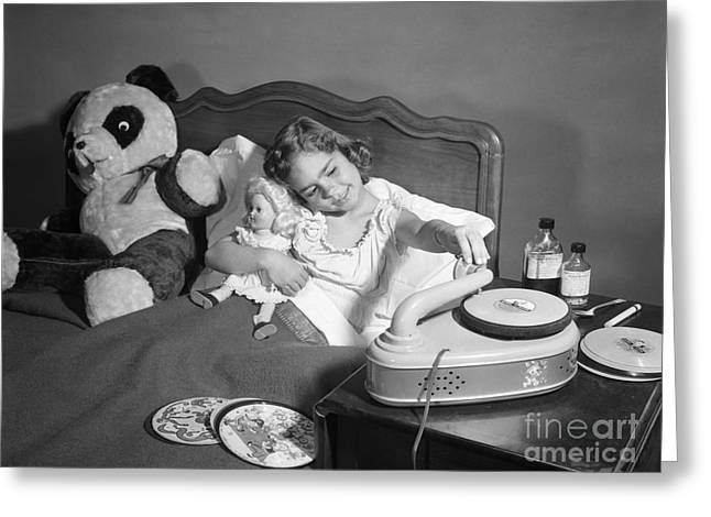 Sick Girl Playing Records, C.1950s Greeting Card by Debrocke/ClassicStock
