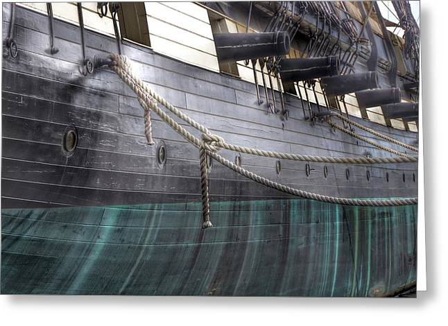 Side Of The Uss Constellation Navy Ship In Baltimore Harbor Greeting Card by Marianna Mills