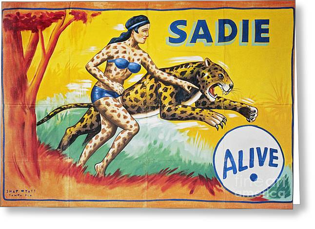 Leopard Running Greeting Cards - SIDESHOW POSTER, c1965 Greeting Card by Granger